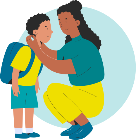 illustration of parent and yound child with backpack